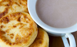 Pancakes and cocoa Stock Photo