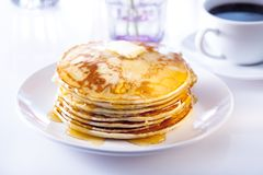Pancakes and coffee Stock Photos