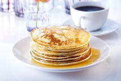 Pancakes and coffee Royalty Free Stock Image