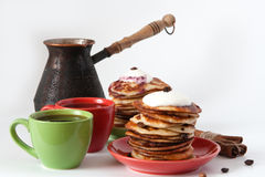 Pancakes and coffee for breakfast Royalty Free Stock Image