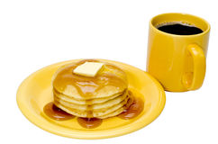 Pancakes and Coffee  Isolated Stock Photo