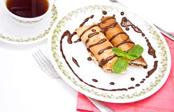 Pancakes with cottage cheese Stock Images