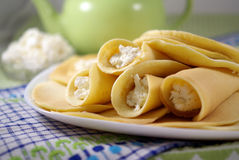 Pancakes with cottage cheese Royalty Free Stock Photography