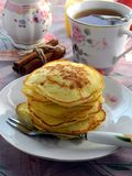 Pancakes with cottage cheese and apples Royalty Free Stock Photos