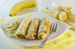 Pancakes with cottage cheese and banana Stock Photos