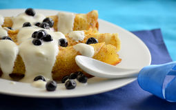 Pancakes with cottage cheese and blueberries Royalty Free Stock Photos
