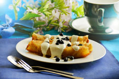 Pancakes with cottage cheese and blueberries Royalty Free Stock Photo