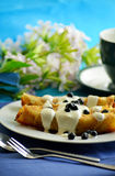 Pancakes with cottage cheese and blueberries Stock Photo