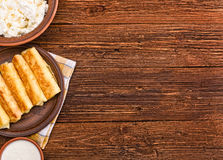 Pancakes with cottage cheese. Royalty Free Stock Photography