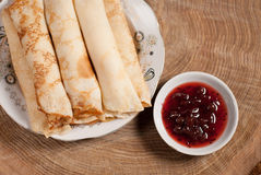 Pancakes with cottage cheese and cherry jam Stock Photo