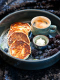 Pancakes with cottage cheese and coffee. Pancakes with cottage cheese and espresso cup Stock Photos