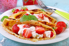 Pancakes with cottage cheese and fresh strawberries Royalty Free Stock Photography