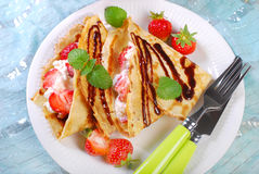 Pancakes with cottage cheese and fresh strawberries Stock Image