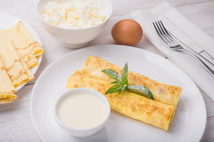 Pancakes with cottage cheese Royalty Free Stock Image