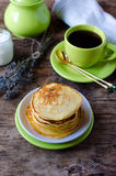 Pancakes with cottage cheese and lavender Stock Photos