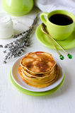 Pancakes with cottage cheese and lavender Royalty Free Stock Photo