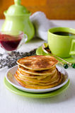 Pancakes with cottage cheese and lavender Stock Photo