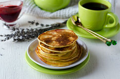 Pancakes with cottage cheese and lavender Stock Image