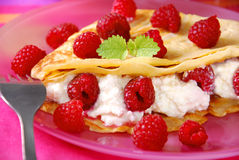 Pancakes with cottage cheese and raspberries Stock Photos