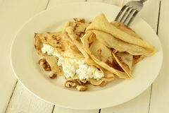 Pancakes with cottage cheese Royalty Free Stock Photos