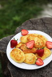 Pancakes from cottage cheese. With strawberries Stock Photos