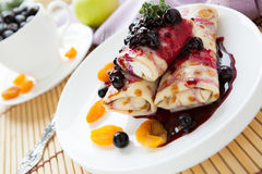 Pancakes with cottage cheese topped with jam Stock Photography