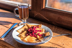 Pancakes with cranberries Stock Photography