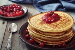 Pancakes with cranberry jam Royalty Free Stock Photos