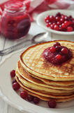 Pancakes with cranberry jam Stock Image
