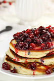 Pancakes with Cranberry Syrup Royalty Free Stock Images
