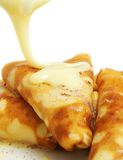 Pancakes with cream Royalty Free Stock Photos