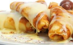 Pancakes with cream Royalty Free Stock Photos