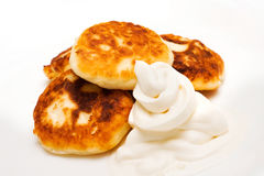 Pancakes with cream Royalty Free Stock Photography