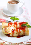 Pancakes with cream cheese filling Royalty Free Stock Photos