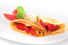 Pancakes. crepes with with strawberry Stock Image