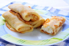 Pancakes with curd Royalty Free Stock Photos