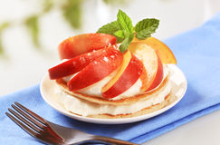 Pancakes with curd cheese and peach Stock Photography