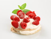 Pancakes with curd cheese and raspberries Stock Photos