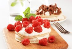 Pancakes with curd cheese and raspberries. Pancakes with curd cheese and fresh raspberries Stock Photo