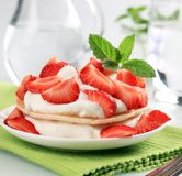 Pancakes with curd cheese and strawberries Royalty Free Stock Images