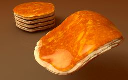 Pancakes 3D Render, Realistic. Big, High Quality 3D Realisctic render of pancakes with honey with brown background Stock Images
