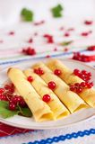 Pancakes decorated with red currant berries. Stock Photos