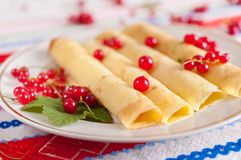 Pancakes decorated with red currant berries. Royalty Free Stock Photo
