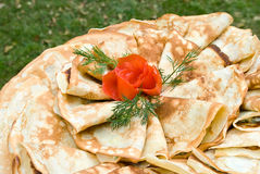 Pancakes decorated with tomato rose Stock Photos
