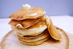 Pancakes  in dish. Pancakes in dish on Table wood Royalty Free Stock Photography