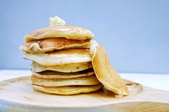 Pancakes  in dish. Pancakes in dish on Table wood Royalty Free Stock Photos