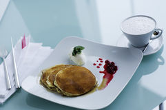 Pancakes in a fancy restaurant Stock Photo