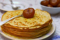 Pancakes with a fig jam Royalty Free Stock Image