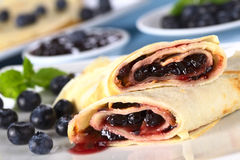 Pancakes filled with Blueberry Jam Royalty Free Stock Photography