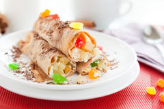 Pancakes filled with fruit and mascarpone Stock Photo
